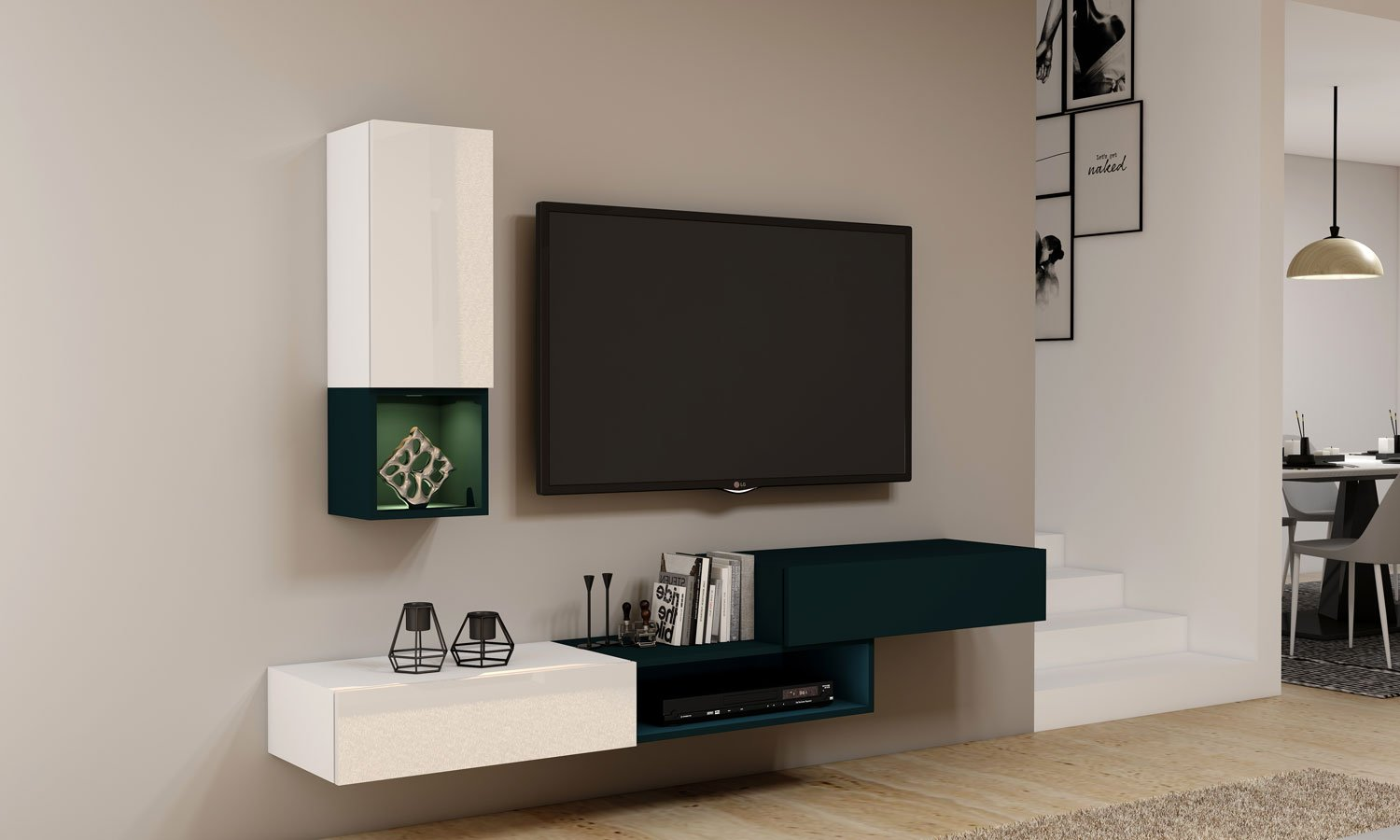 Gloss TV unit with Storage in Drawers, Open Shelves and Flap up in combination of White and Green