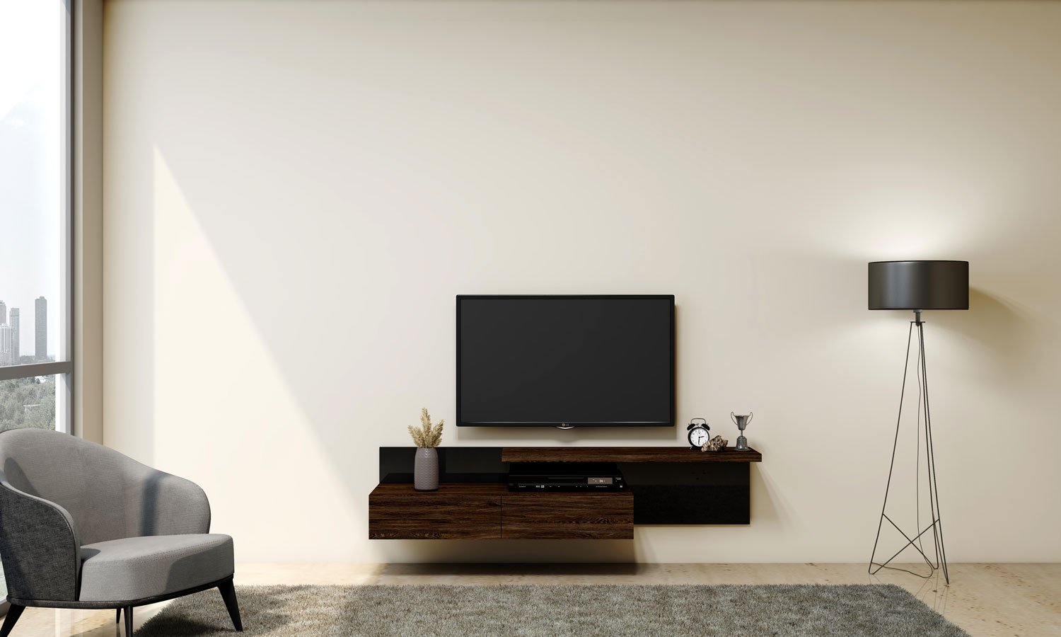 TV unit with Storage in Drawers, Shelf in Bronze Expressive Oak finish and Back Panel in Shadow Black