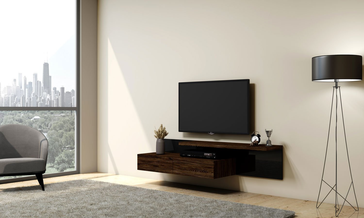 Shadow Black TV unit with Storage in Drawers, Shelf in Bronze Expressive Oak finish & Back Panel