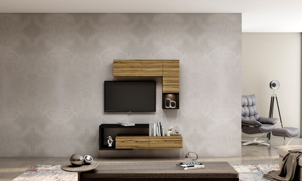 Wooden TV unit with Storage in Drawers,Flap Up in Oak finish, Shelves and Open Unit in Graphite Grey