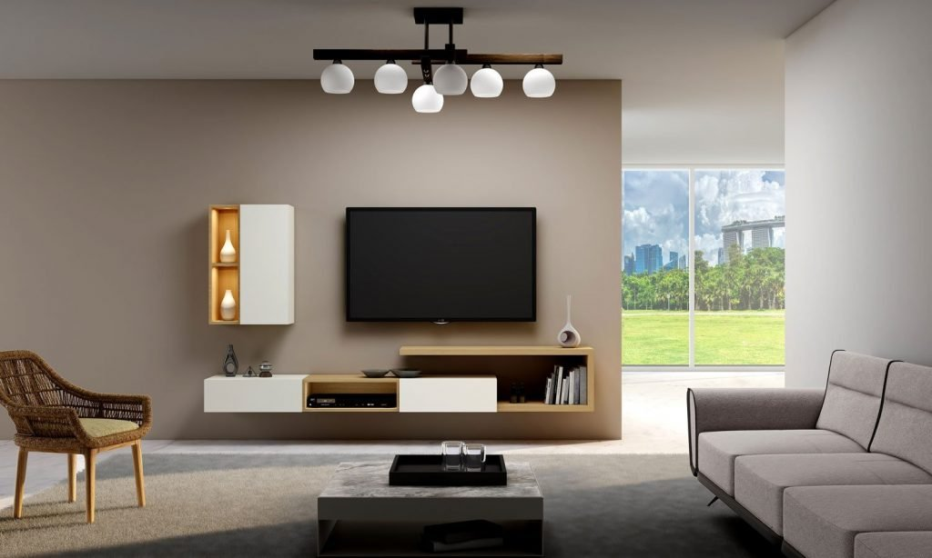 TV unit with lounge Storage in Drawers,Open Shelves and Wall units in combination of Natural Lancaster Oak and White