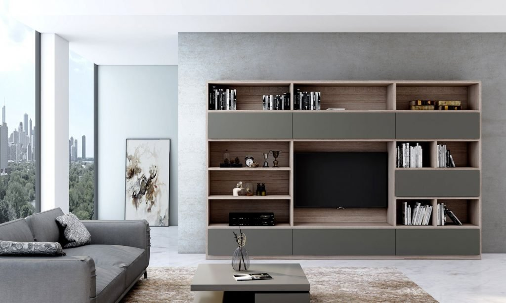 Grey TV unit with Storage in Flap ups, Drawers and Open shelf units in Combination of White Halifax Oak and Onyx Grey
