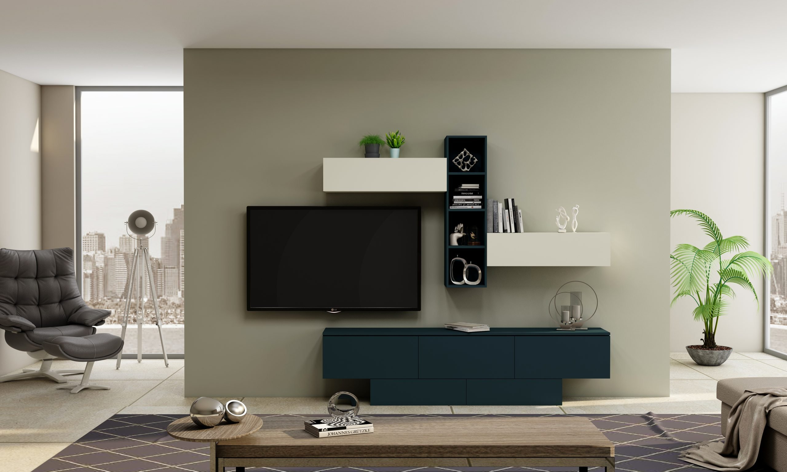 Gloss TV unit with Storage in Flap ups, Drawers and Open shelf units in Combination of White and Smoke Blue