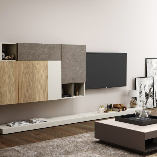 TV unit with Storage in Flap ups, Wall Units and Open shelf units in Combination of White,Grey-Beige Gladstone Oak and Glauco Ares