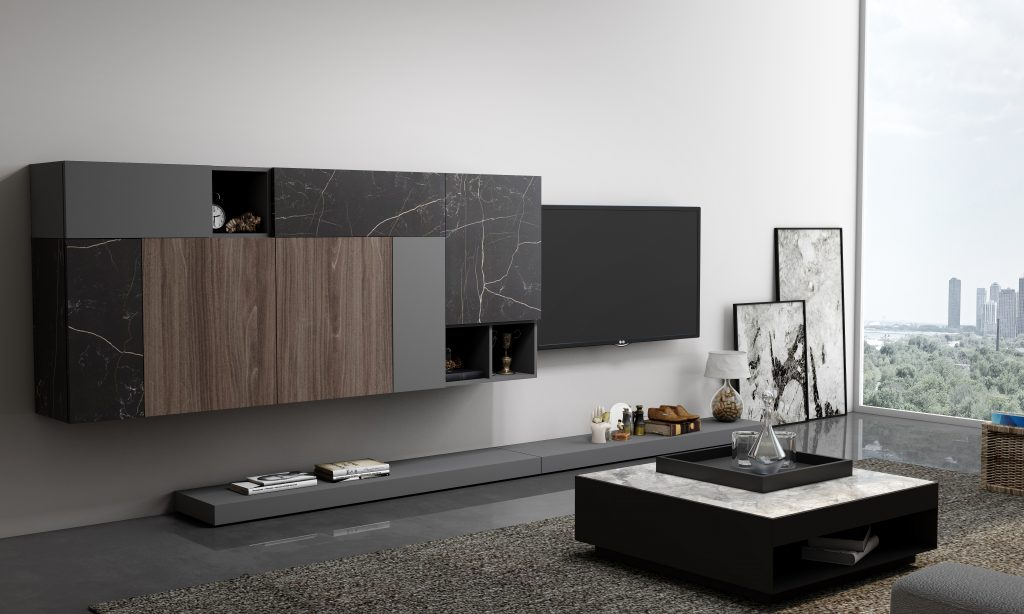 Wooden Grey TV unit with Storage in Flap ups,Wall Units and Open shelf units in Combination of Dark Grey, Dark Select Walnut and Black Marble finish