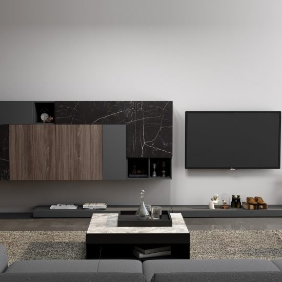 TV unit with Storage in Flap ups,Wall Units and Open shelf units in Combination of Dark Grey, Dark Select Walnut and Black Marble finish