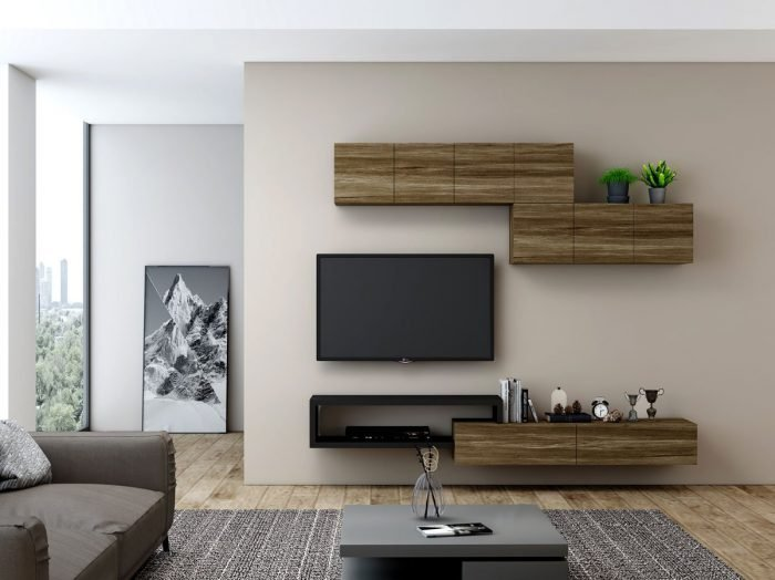 https://www.inspiredelements.co.uk/wp-content/uploads/2021/06/TV-unit-with-Storage-in-drawers-open-shelves-wall-units-in-combination-Pewter-Halifax-Oak-and-Black-1-1-700x524.jpg