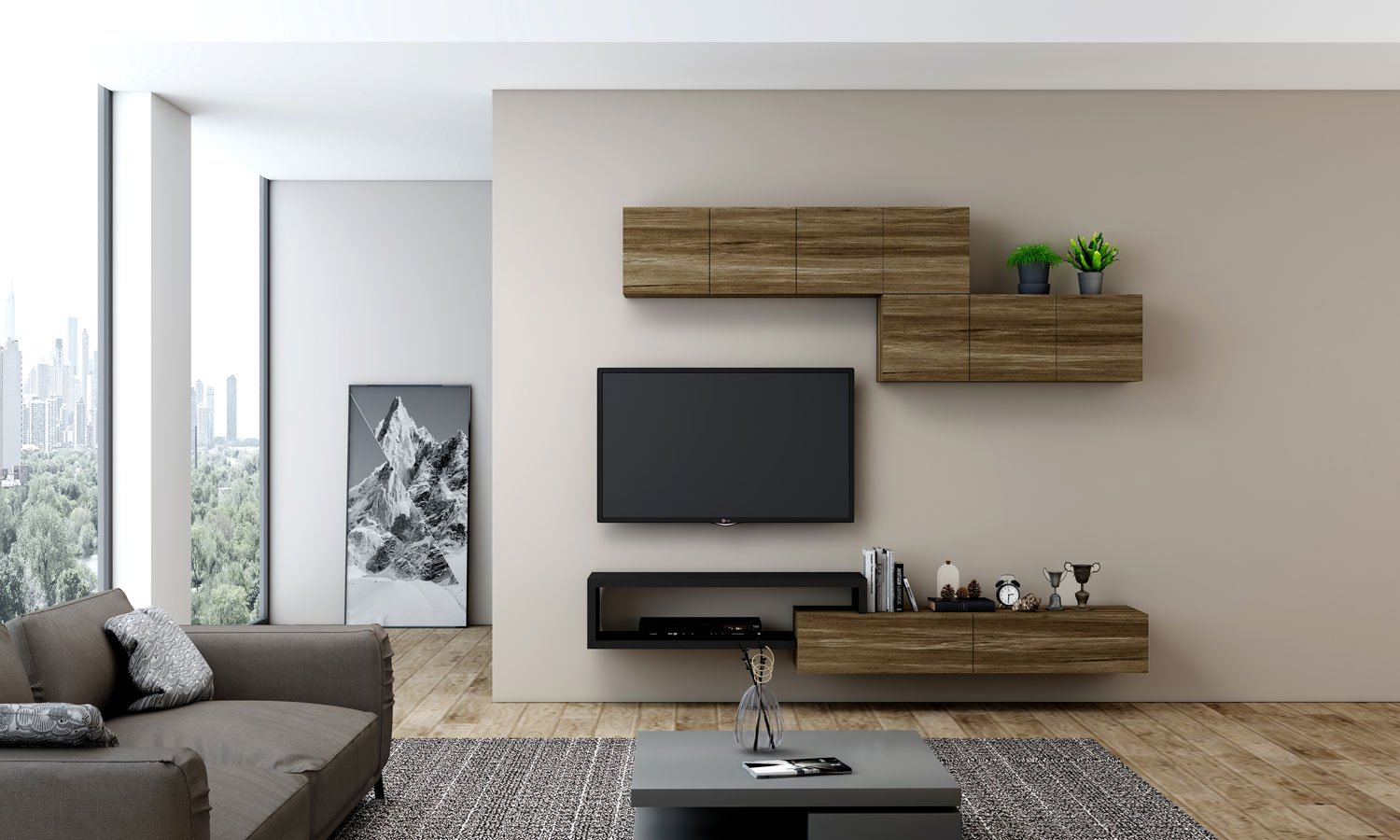 TV unit with Storage in drawers, open shelves, wall units in combination Pewter Halifax Oak and Black