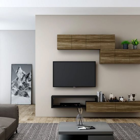 Wooden Black TV unit with Storage in drawers, open shelves, wall units in combination Pewter Halifax Oak and Black