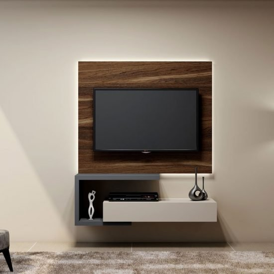 Tv Unit With Drawer in Light Grey Finish and a Shelves in Dust Grey