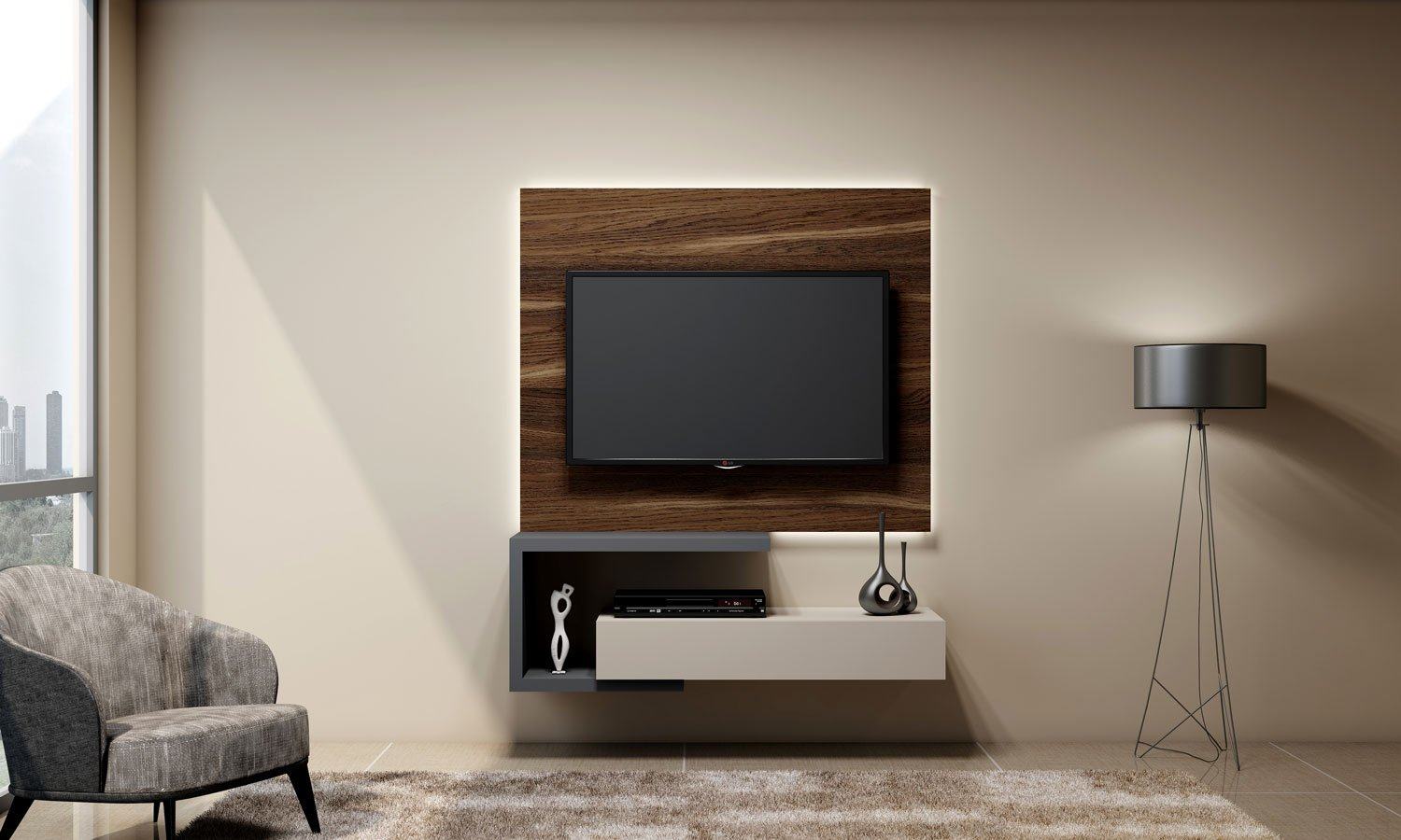 dust grey TV unit with drawer in light grey finish and shelves