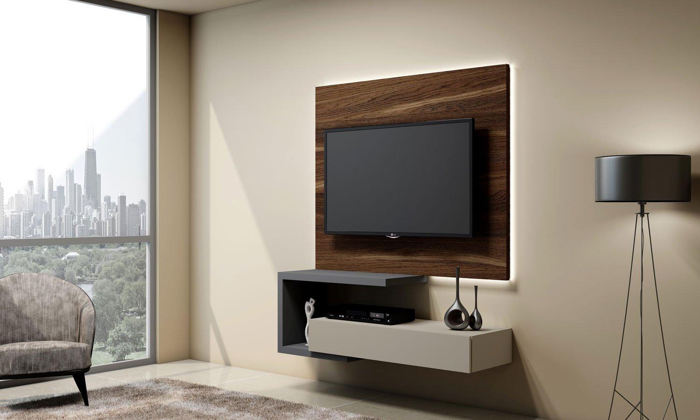 Matt Grey TV unit with Drawer in Light Grey finish, and a Shelves in Dust Grey finish and shelves in dust grey