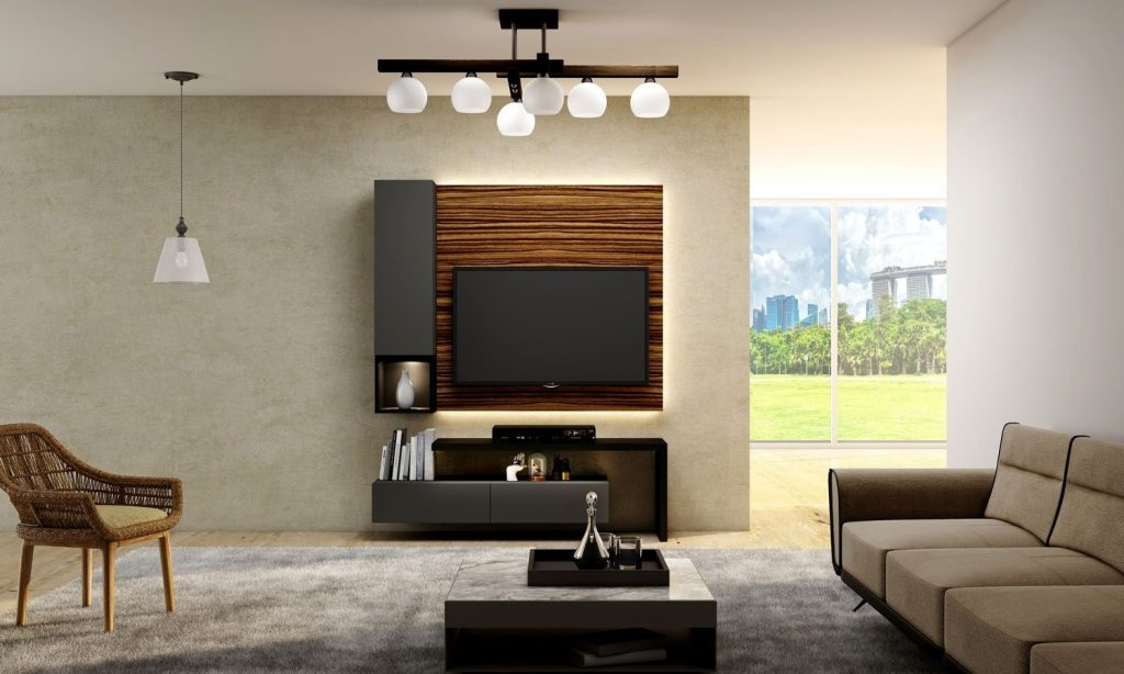 Tv Unit With Storage in Drawers With Dust Grey Finish, Shelves and Open Unit in Graphite Grey