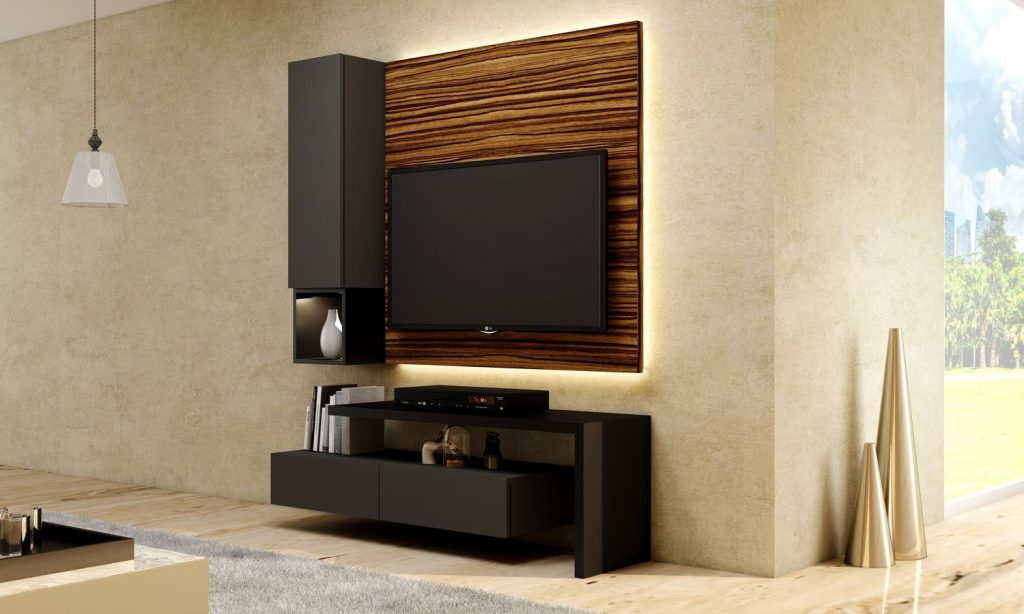 Matt Grey TV unit with Storage in Drawers with Dust Grey finish, Shelves and Open Unit in Graphite Grey