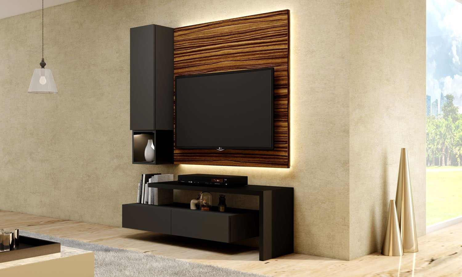 Matt TV unit with Storage in  Drawers with Dust Grey finish, Shelves and Open Unit in Graphite Grey
