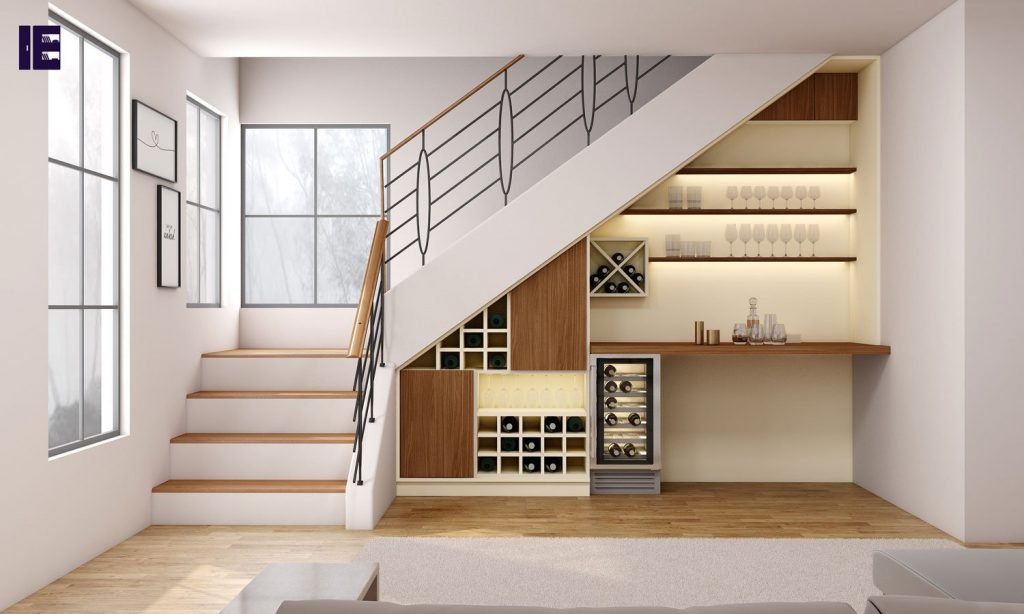 Understairs Fitted Bar Area in Lincoln Walnut and Cream Finish