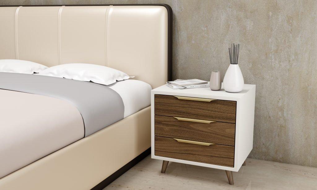 framed bedside cabinets in natural walnut finish