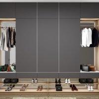 Grey Wardrobe With Shoe Shelf Open Hanging