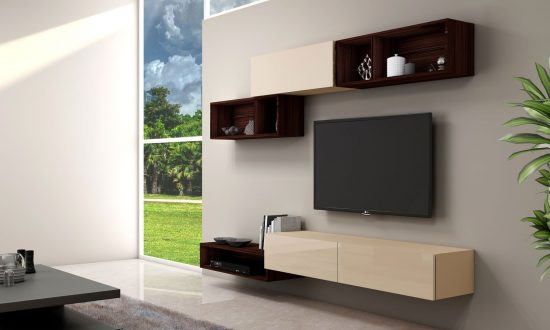 Gloss TV unit with Storage in Drawers,Open Shelves, Flap up in combination Cream & Sepia Gladstone Oak