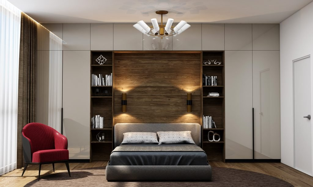 Bedroom Storage With Hinged Wardrobes and Bookshelf Unit Finished in Cashmere Grey Gloss and Beige Woodgrain