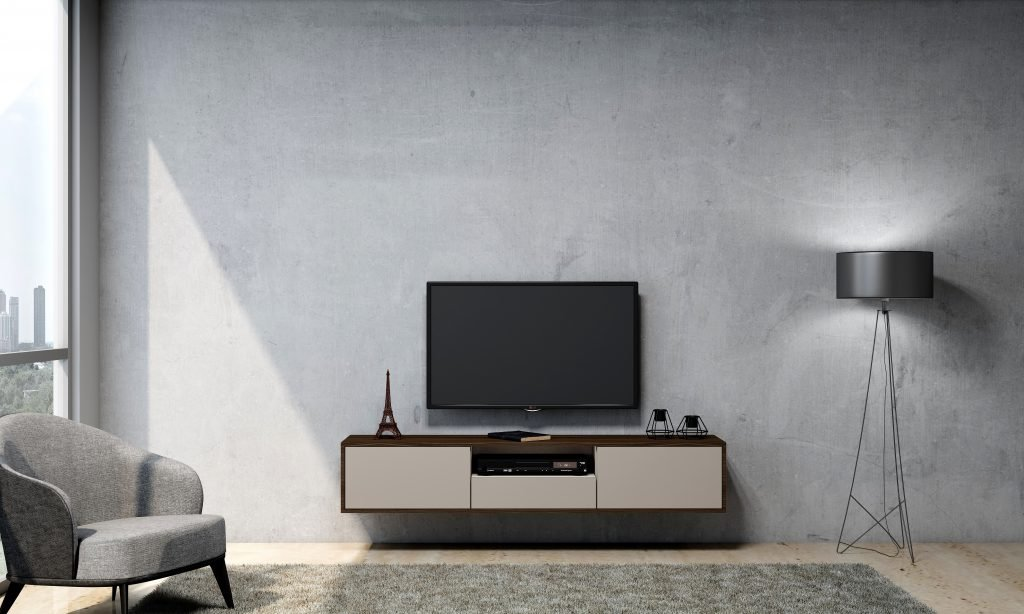 TV unit with Drawers in Crema Beige, and center Open Box in Lincoln Walnut finish