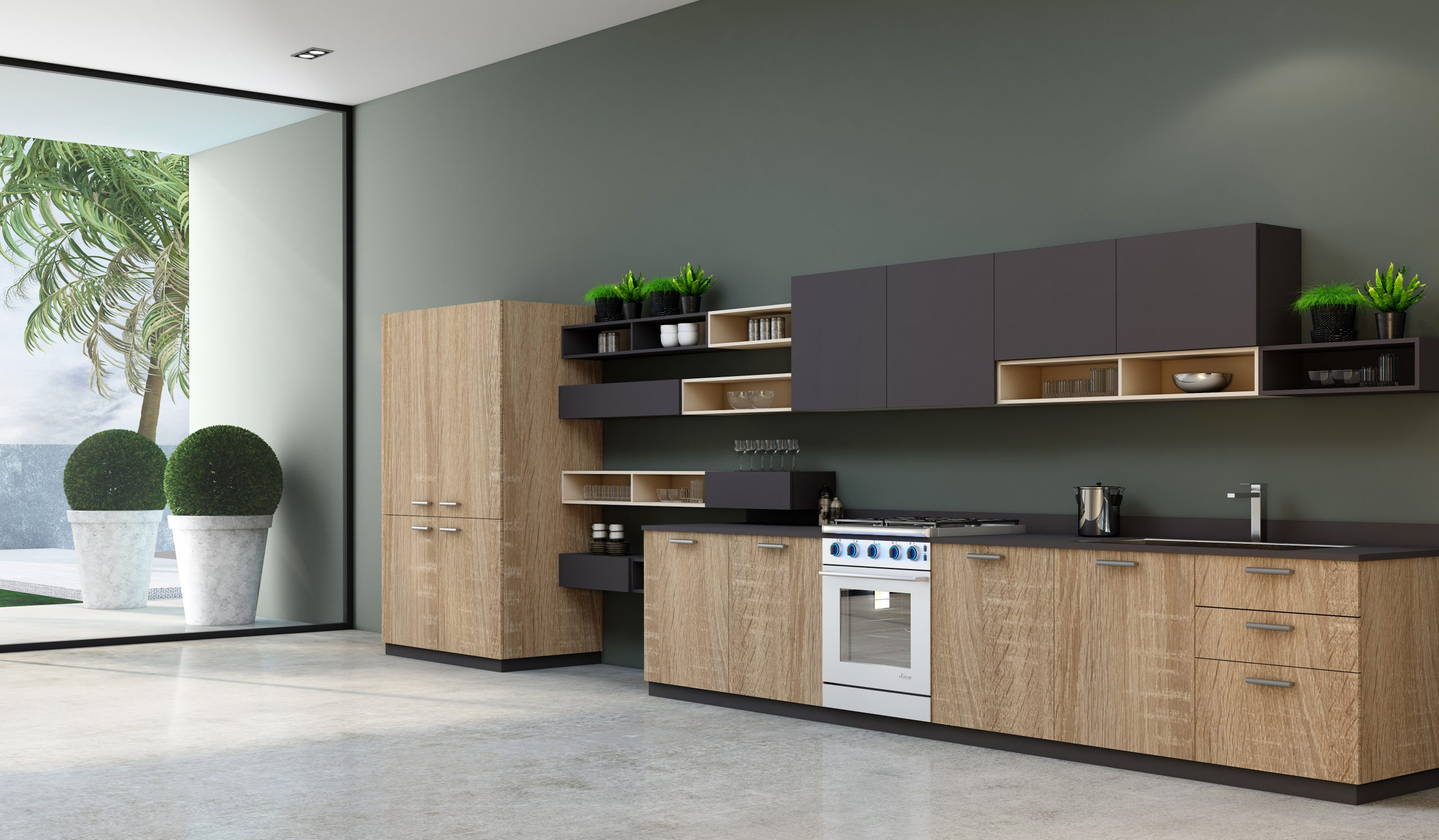 Easyline green kitchen with Alcove in Sand Orleans Oak woodgrain & graphite grey matt finish