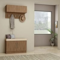 Hallway Unit With Small Storage and Hangings With a Cushion Seating Finished in Dark Walnut