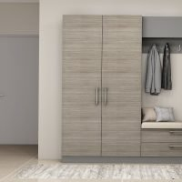 Hallway Storage With Drawers and Shelves With Grey Oak Finish and Cushion