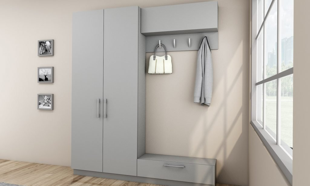 Hallway Unit With Storage and Hangers Finished in Silver Grey