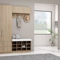 Hallway unit with Storage and hangings with a cushioned seating finished in Grey Vicenza Oak