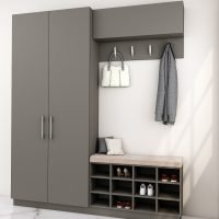 Hallway Unit With Storage, Hangings With Cushion Seating Finished in Onyx Grey
