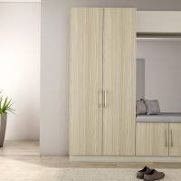 Hallway unit with storage and cushion seating in African Walnut and light grey finish with a mirror