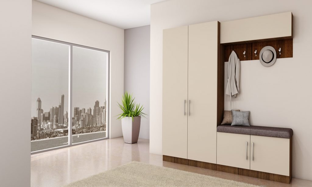 Hallway unit with storage, hangers and cushion seating finished in Cashmere Grey and Dark wood