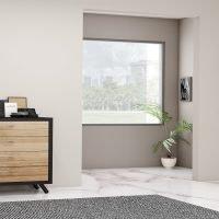 Hallway With a Black Framed Drawer Storage Unit in Cherry Finish