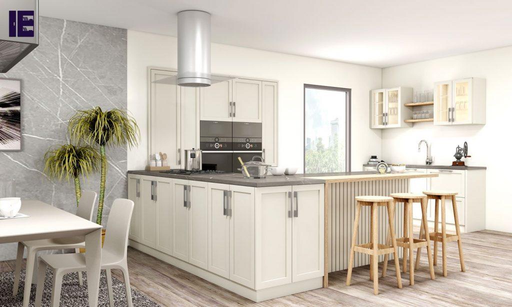 Wooden Finish Light Grey Kitchen Unit