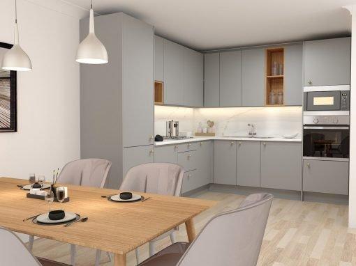 L-shaped Grey Kitchen Units