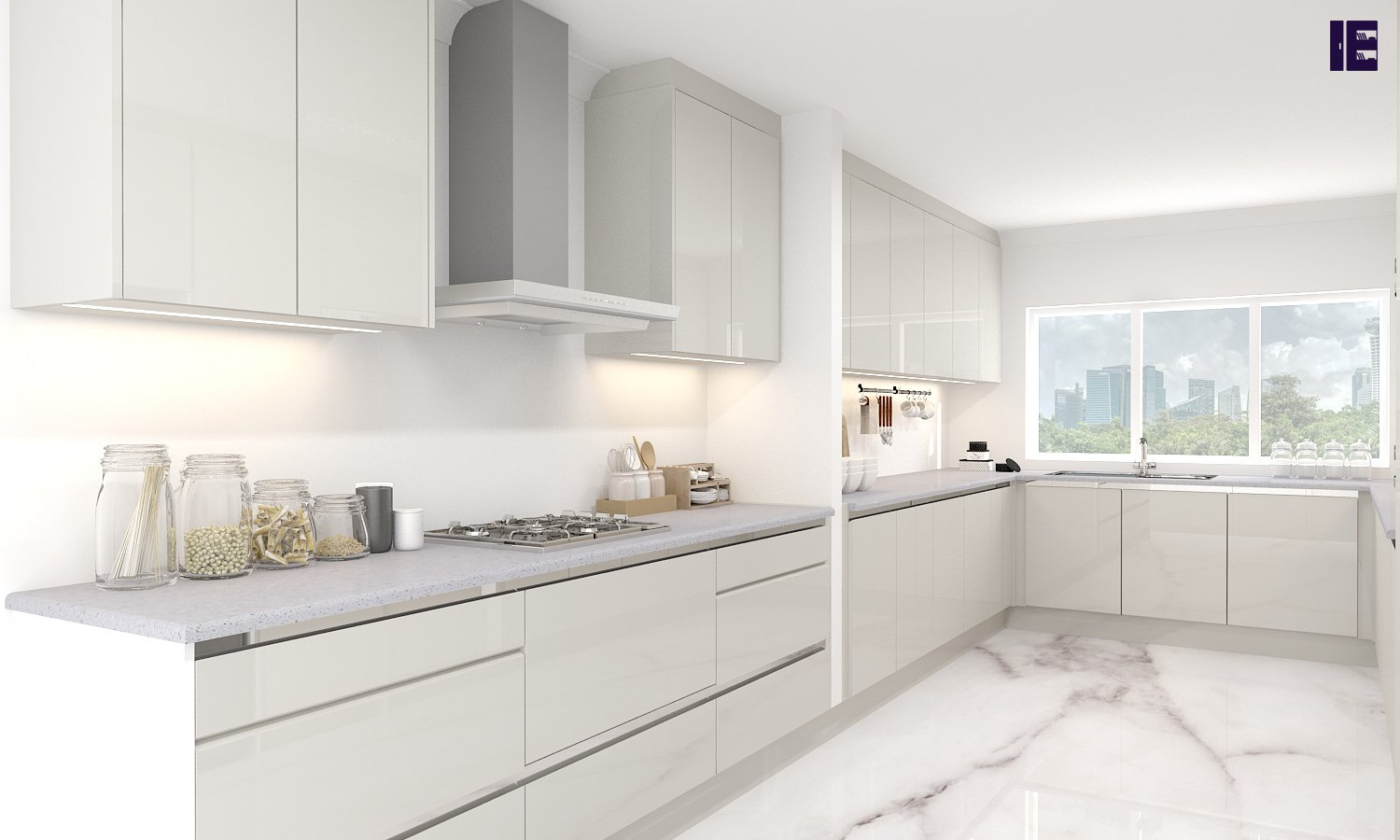 White Fitted Kitchens with a mix of Indigo Blue