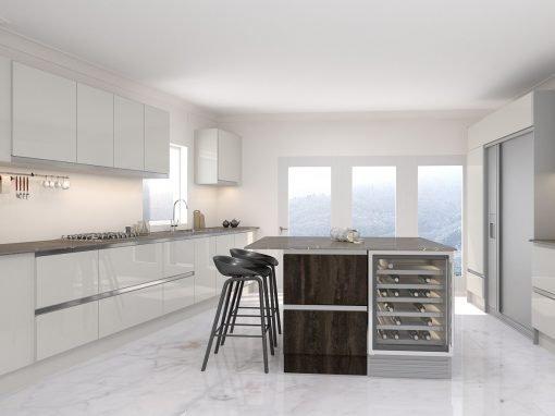 Handleless I-shaped Kitchen Cashmere White