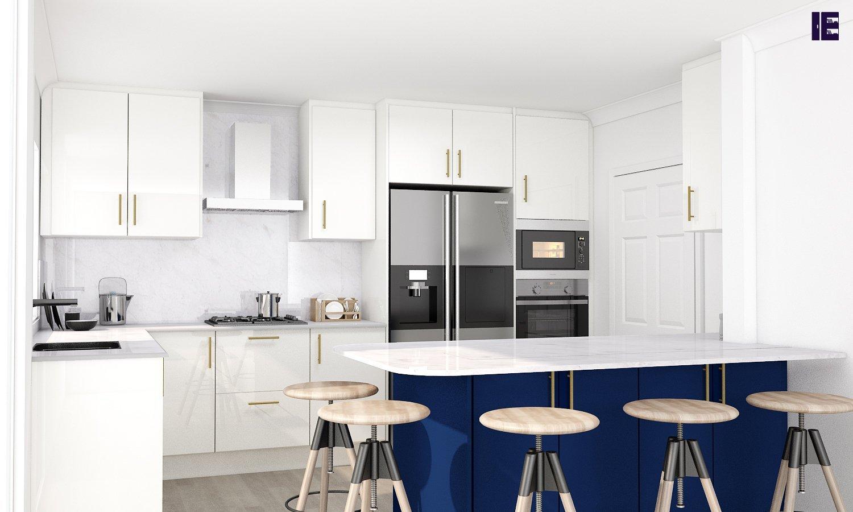 Fitted Kitchen in White & Indigo blue