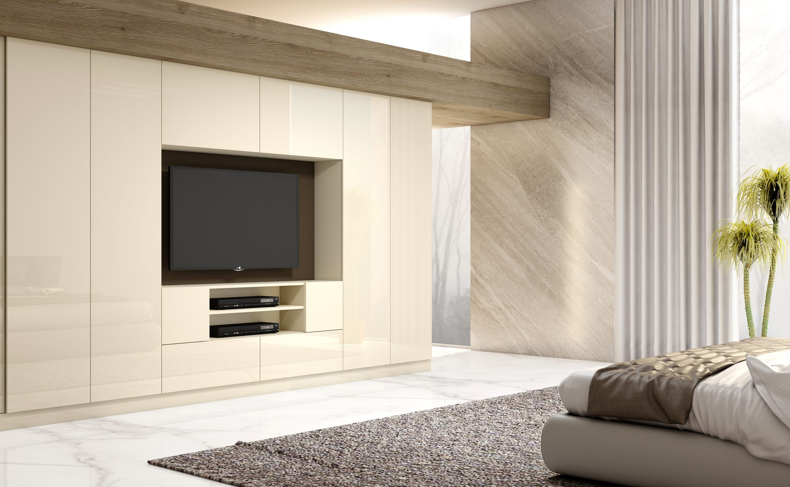 Wooden Wardrobe Cream Lava Grey