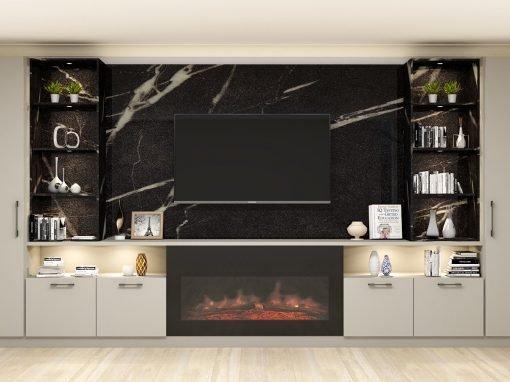 Living Room Alcove With TV Unit Aluminium Finish