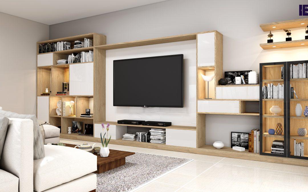 Fitted bookcase in grey beige, snow white, & bronze expressive oak finish