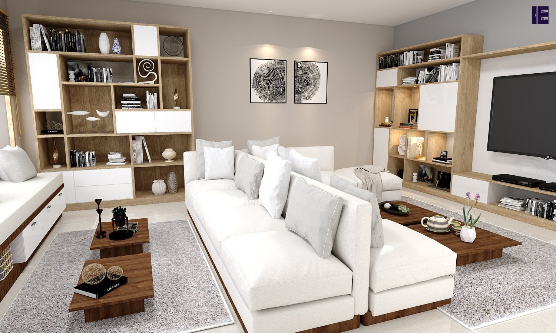 Silver white living room set with finish bookshelf in bronze expressive oak
