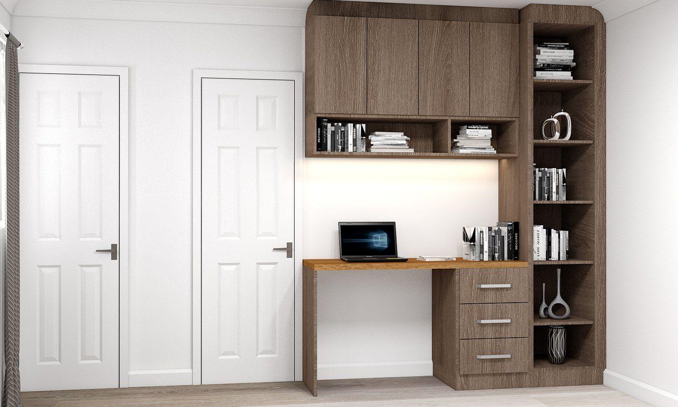 Modern bookcase in brown orlean oak & natural Dijon Walnut finish