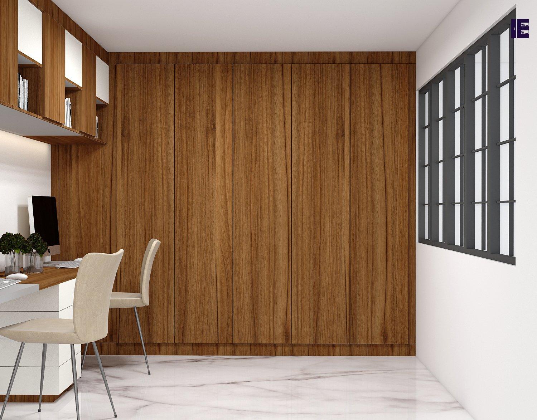 Wooden wardrobe in natural dijon walnut finish