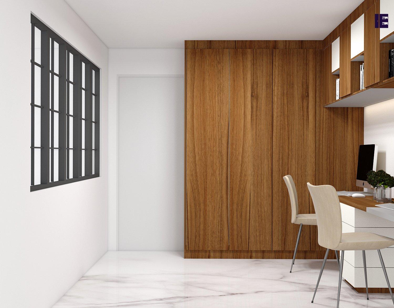 Wooden wardrobe in natural dijon walnut finish & alpine white