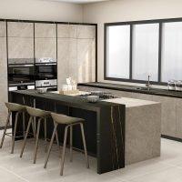 Fitted grey kitchen unit in jasper moke Azalai Nero finish