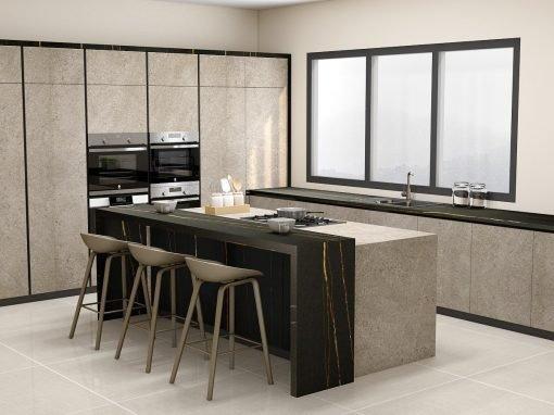 Grey Handleless & Modern Kitchen Set