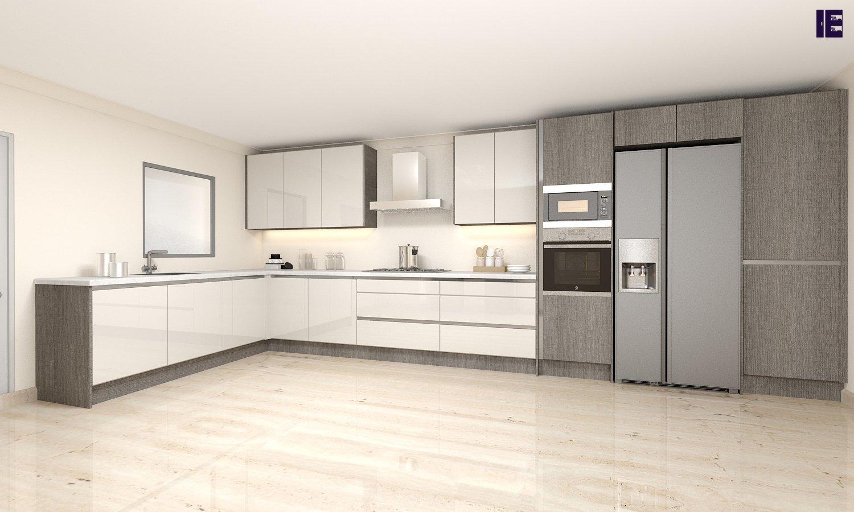 Handless cashmere white kitchen