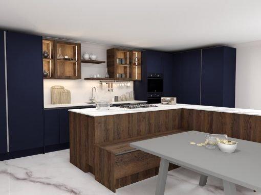 Handleless L-shaped Kitchen Indigo Blue